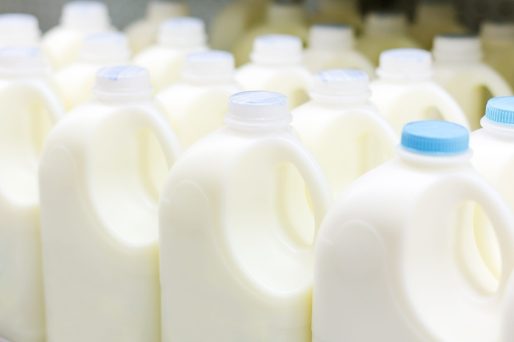 Sale of milk at the store supermarket