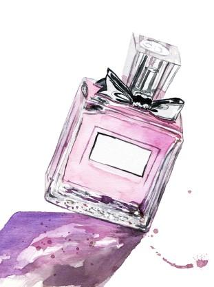 Pink flacon watercolor