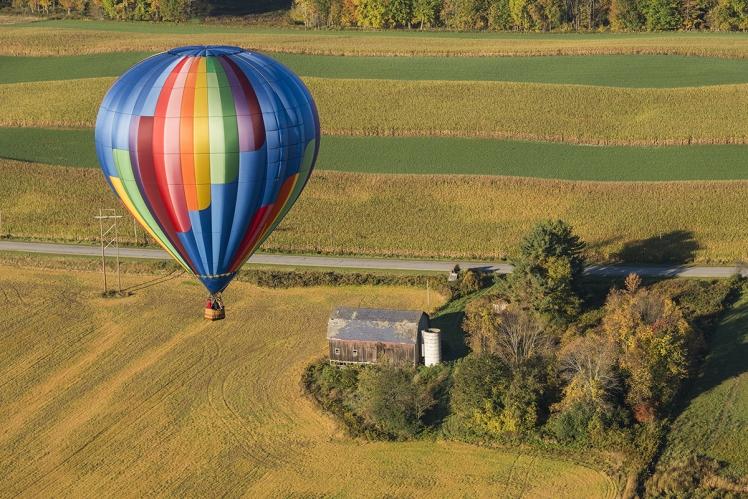 Hot Air Balloon In Flight Over New York