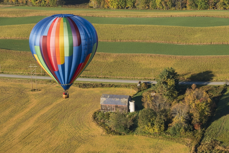 Hot Air Balloon In Flight Over New York